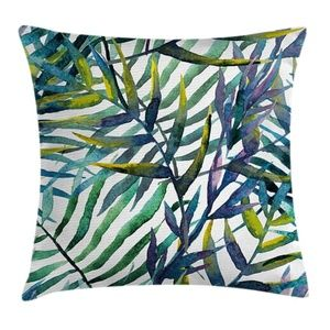Pillow Case Tropical Leaves Art Cover No Insert